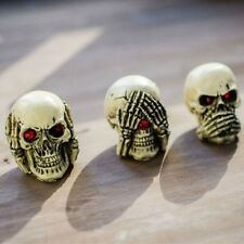 3Pcs Set Human Skull Decoration Prop Skeleton Head Halloween Cosplay Home Decor