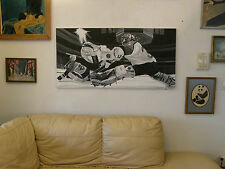 'THE GOALIE' _Hockey Player by Marianne Shaffrer Oil Sport Painting