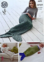 KNITTING PATTERN Baby-Adult EasyKnit Mermaid Fishtail Blanket Aran KingCole 4693