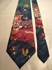Nova Seta Men's Vintage Tie Featuring a Comedic Cartoon Farmyard Scene