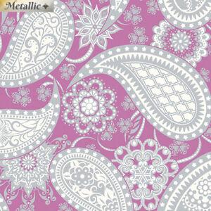 283 Fabric - Paisley Magenta Metallic Cotton - By the Yard