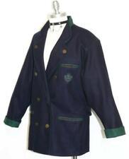 "DARK NAVY BLUE WOOL JACKET Coat Women AUSTRIA DESIGNER Career Long 14 L B44"""
