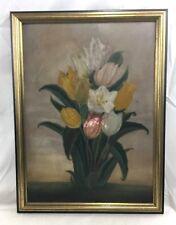 Very Nice Orig. Antique Primitive Flowers Oil Painting by Jesse Geer Purviance