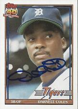 Darnell Coles Detroit Tigers 1991 Topps Signed Card