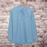 SOUTHERN TIDE Men's Button Down Shirt Blue Gingham Check Size Large
