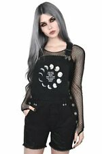 KILLSTAR Many Moons Denim Overalls Dungarees Patch Corset Lacing Gothic RARE NWT