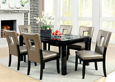 Contemporary Black Finish Dining Table Chairs Dining Room 7p Set Furniture Chair