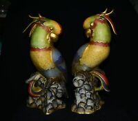 """21,2 """"cloisonné en cuivre émail Feng Shui animal poll perroquet oiseaux Statue"""