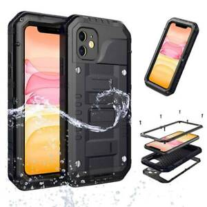Waterproof Heavy Duty Hard Metal Case Cover Tempered Glass For iPhone 11 Pro Max