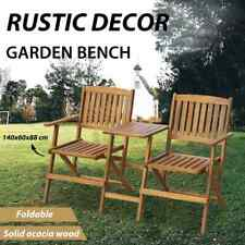 vidaXL Solid Acacia Wood Folding Garden 2 Seater Bench Jack & Jill Chair Outdoor