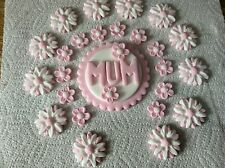 sugarpaste Mum Birthday plaque and flowers cake topper decoration pink-white
