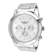 Men's Silver Finish Wristwatch Big Round Face Analog Stainless Steel Back Casual