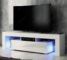 Modern TV Unit 160cm Cabinet White Matt and White High Gloss FREE LED RGB Lights