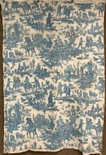 Early 1800s Toile Blue QUILT Antique Pictorial People Linsey Homespun