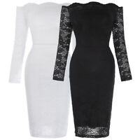 Womens Bodycon Cocktail Lace Dress Ladies Evening Party Dress Sexy Off Shoulder