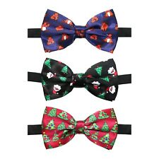 Set of 3 Christmas Novelty Clip-On Bow Ties (Santa, Reindeer & Christmas Tree)