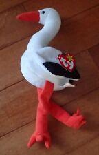 "Ty Beanie Baby Stilts White Stork 11"" Beanbag Stuffed Plush with Heart Tag"