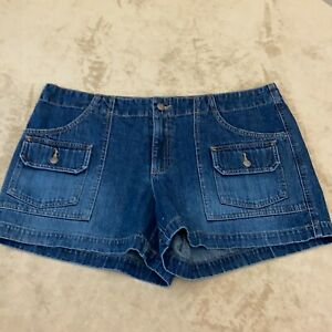 Old Navy Womens Blue Denim Flat Front Regular Fit Casual Shorts Size 16