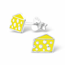 925 Sterling Silver CHEESE ear stud Earrings childrens gift MOUSE FOOD