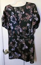 Black w/mixed colors floral short sleeve pullover top, size  2X