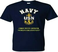 CHIEF PETTY OFFICER WORLDS GREATEST VINYL & SILKSCREEN NAVY ANCHOR SHIRT/SWEAT