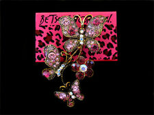Butterfly Flower Charm Brooch Pin Betsey Johnson Fashion Women Crystal Enamel