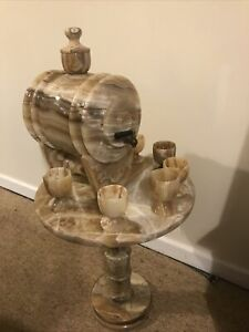 Rare Vintage 1960s Onyx Pedestal Table With Water Urn / Barrel And Goblets Italy