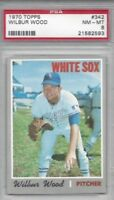 1970 Topps baseball card #342 Wilbur Wood, Chicago White Sox graded PSA 8