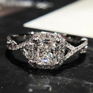 Genuine 925 Sterling Silve Princess Cut Simulated Diamond Wedding Party Ring