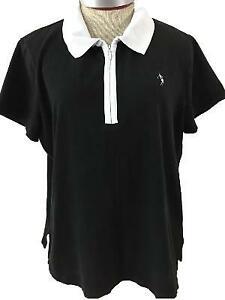 Liz Golf top Size 2X shirt polo short sleeve black white Lizgolf 1/4 zip