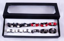 New Wholesale 12 Piece Leather Biker Style Spike Rings in Display #R1228-12
