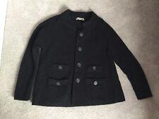 Black Jigsaw Cardigan 100% Wool Chunky Knit Small