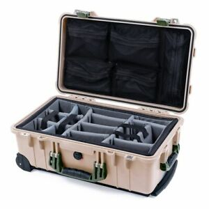 Tan & OD Green Pelican 1510 case with grey dividers & mesh lid organizer.