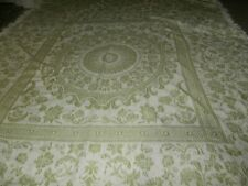 "Vintage Chenille Queen Size Fringed Bedspread Mint Green 108� X 98"" Bates"