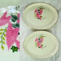 "1950s Vintage W. S. George Pottery Pink Caladium 13"" LARGE Oval Platter SET of 2"