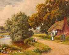Thatched Cottage by a River by Arthur Strachan Old England 8x10 Art Print 0953