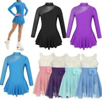 Girls Children Skating Dress Costume Figure Ice Skating Dress Ballet Gym Leotard