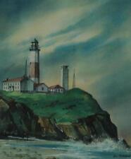 Vintage Watercolor of Montauk Lighthouse by New York Artist Alice Kettelhack