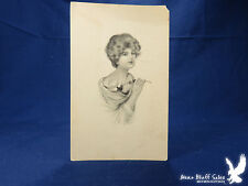 Beautiful Lady Litho PC SIGNED Girl With A Rose