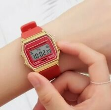CASIO CLASSIC RED WOMENS WATCH WITH GOLDEN DIAL RESIN STRAP