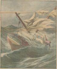 K0839 Giornalista von Schewn colto da tempesta sulla sua barca - Stampa antica