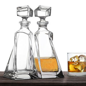 Bohemia Crystal Glass Whiskey Decanter Drinks Spirit Lovers Twin Double Gift Set