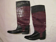 vintage SESTO MEUCCI FLORENCE black and brown croc embossed tall riding boots  *