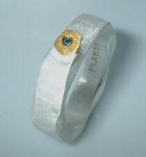 Ring, Feinsilber 999,  blauer Diamant,Goldapplikation, Flamere by Dieter Fischer