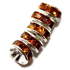 RHINESTONE RONDELLES ROUND JEWELRY SPACER BEAD AMBER BROWN 6MM 24 BEADS RC13