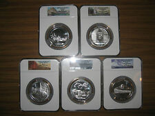 2010 AMERICA THE BEAUTIFUL SET MS69 NGC EARLY RELEASE 5 SILVER 5 OZ COINS