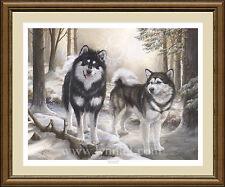 ALASKAN MALAMUTES limited edition fine art dog print 'Guinness & Tai'