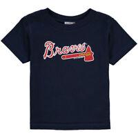Atlanta Braves Majestic Primary Logo Navy Blue Jersey T-Shirt adult Small