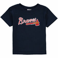 Atlanta Braves Majestic Primary Logo Navy Blue Jersey T-Shirt Children's Small