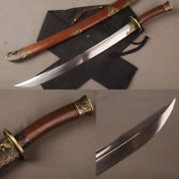 Handmade Rosewood Damascus Steel Blade Chinese Sword Qing Dao Phoenix Fittings
